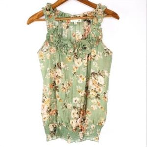 Mine Womens Tank Top Size Small Green Floral